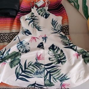Palm print halter skater dress